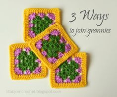 3 Ways to Join Granny Squares @ LillaBjörn's Crochet World, thanks so for sharing the Zip method! xox ☆ ★ https://www.pinterest.com/peacefuldoves/
