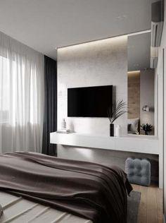 ДИЗАЙН СТУДИЯ А Бs photos – 715 albums Master Bedroom Interior, Tv In Bedroom, Modern Bedroom Design, Home Room Design, Home Decor Bedroom, Modern Bedrooms, Modern Design, Cool Apartments, Apartment Design
