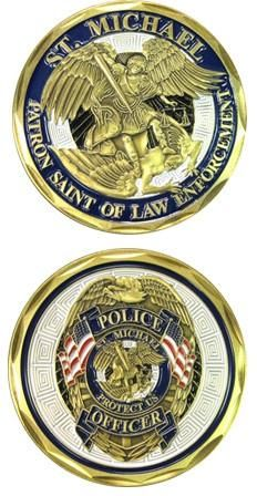 Saint Michael Law Enforcement Challenge Coin - Star Spangled 1776