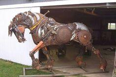Stallion made of scrap metal