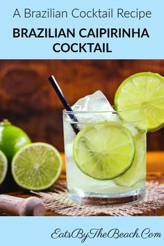A Brazilian cocktail of Cachaca lime and sugar served in a highball glass garnished with a slice of lime. You'll feel like you're in Rio. Cocktails Made With Rum, Rum Cocktail Recipes, Best Summer Cocktails, Bourbon Cocktails, Fun Cocktails, Fun Drinks, Pool Drinks, Alcoholic Cocktails, Drink Recipes