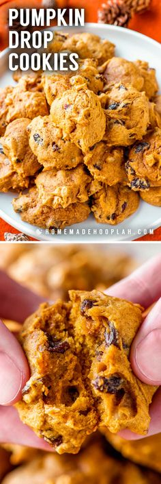 These ultra soft pumpkin drop cookies are laced with crunchy almonds and sweet raisins. They're the perfect treat to bake for festive fall comfort food. Spice Cookies, Drop Cookies, Yummy Cookies, Pumpkin No Bake Cookies, Bar Cookies, Pumpkin Recipes, Fall Recipes, Great Recipes, Chocolate Chip Shortbread Cookies