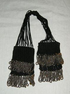 Black crocheted misers purse  Civil War era by MartinsMercantile