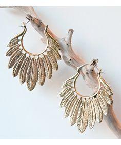 Feather Headdress Earrings, hand-made in Bali.
