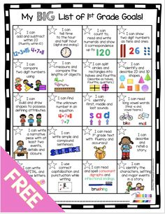 , First Grade Goals and Awards FREEBIE — Keeping My Kiddo Busy , FREE First Grade Goals Chart - display academic standards and students can set goals to master their math and reading objectives - communicate with pa. First Grade Curriculum, First Grade Phonics, First Grade Activities, Teaching First Grade, First Grade Reading, First Grade Classroom, 1st Grade Math, Math Activities, First Grade Homework
