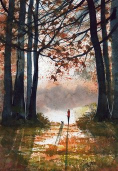 Original Watercolour Painting ~ Morning Stroll In Autumn Sunlight ~ BY KJ CARR