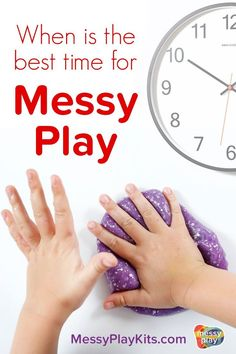 How do you pick the best time of day for messy play activities with your kid? This blog post lists 4 things to consider when choosing when to do sensory play. These tips & tricks will help you and your child enjoy messy play together. #messyplaykits Indoor Activities For Kids, Creative Activities, Toddler Activities, Sensory Toys, Sensory Activities, Messy Play, Play Based Learning, Science Kits, Toddler Books