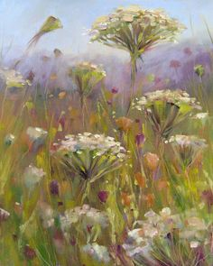 """Queen Annes Lace Oil"" - Original Fine Art for Sale - © Karen Margulis Pastel Art, Artist Art, Art Techniques, Painting Inspiration, Collage Art, Flower Art, Art Photography, Fine Art, Drawing"
