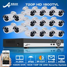 New!16CH AHD CCTV Camera System DVR Kit&1080N 720P HD 1800TVL Outdoor Weatherproof Home Security Surveillance Camera Email Alert