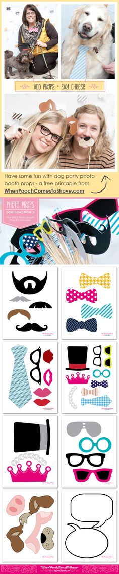 Free Printables for Dog Party Photo Booth Props. Love this idea! Photo Both Props, Mustache Party, Big Dot Of Happiness, Puppy Birthday, Puppy Party, Wedding Humor, Party Photos, Free Printables, Party Printables