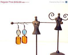 SALE 40% OFF Glass Earrings Blue Cognac Brass Glass by JustColor