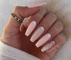 Nude pink with a glitter pinky