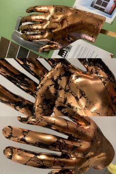 Real copper leaf over black Retail Interior Design, Gold Leaf, Copper, Black, Black People, Brass