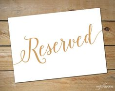 Printable Reserved Signs for Wedding // Wedding Reserved Table Sign // Reserved…