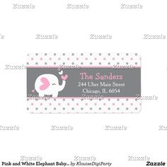 Pink and White Elephant Baby Shower Label