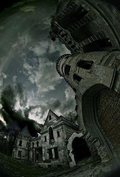 spooky castle, great fish-eye lens usage
