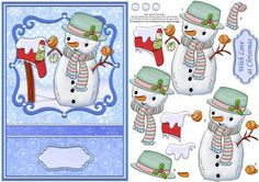 CARROT THE SNOWMAN Christmas Card Topper Decoupage on Craftsuprint designed by…