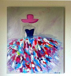 C'est un tableau moderne qui représente une femme dans une robe aux couleurs flamboyantes  sur une toile de dimension 55x46. Peinture contemporaine et moderne.  Les couleurs ut - 10704685