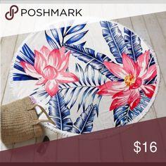Round tropical beach towel Leaf motif round beach towel Other