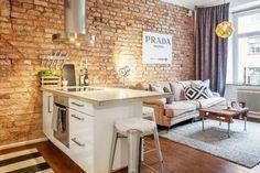 Двухкомнатная студия в 45 м² с кирпичной стеной – Красивые квартиры