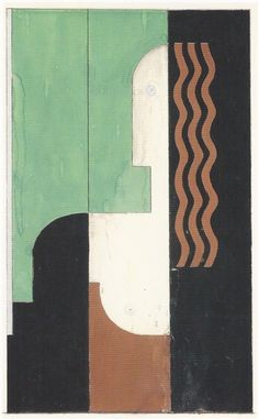 Donald Deskey. / Drawing for the Lysistrata lacquer screen Gouache, silver paint and graphite on wood / Circa 1930.