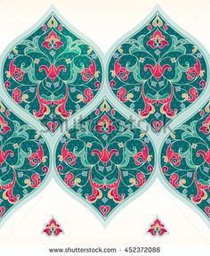 Vector seamless border in Eastern style. Ornate turquoise element for design. Place for text. Ornament for invitations, birthday, greeting cards, web pages. Floral oriental decor. Luxury wallpaper.