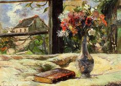 Still life. Vase with flowers on the window , Paul Gauguin. French Post-Impressionist Painter (1848-1903)