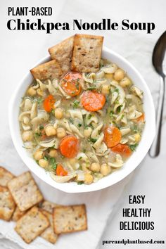 Chickpea noodle soup that is full of incredible flavors. This plant-based/ vegan version of the classic chicken noodle soup uses chickpeas as the protein of choice. A delicious soup that is full of herbs and spices is the perfect base for this soup. It is also full of veggies and makes for a great, healthy dinner. #plantbased #vegetarian #vegan #chickpeanoodlesoup #chickpea #soup #healthyrecipe #healthyvegan #healthy #recipes #healthylifestyle #chickpearecipes Vegan Dinner Recipes, Delicious Vegan Recipes, Raw Food Recipes, Soup Recipes, Healthy Recipes, Lentil Recipes, Recipies, Gluten Free Noodles, Super Easy Dinner