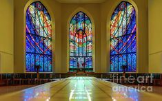 multicolored window stained-glass windows inside a beautiful historic building of the Anglican Cathedral of Christ Church in Victoria in British Columbia Stained Glass Church, Stained Glass Windows, Anglican Cathedral, Skyscrapers, Cityscapes, Altar, Buildings, Canada, Houses