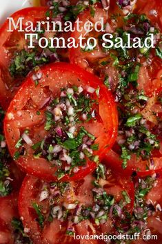 Marinated Tomato Salad (Italian Tomato Salad) Perfectly ripe, juicy tomatoes marinated in olive oil, red wine vinegar, basil and garlic. This delicious side dish is perfect for any summer meal. It's even better when made ahead of time. Fruit Salad Recipes, Vegetable Recipes, Vegetarian Recipes, Cooking Recipes, Healthy Recipes, Recipes With Fruit And Vegetables, Dinner Salad Recipes, Garden Tomato Recipes, Meal Salads