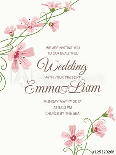 Wedding invitation corner frame gypsophila flowers