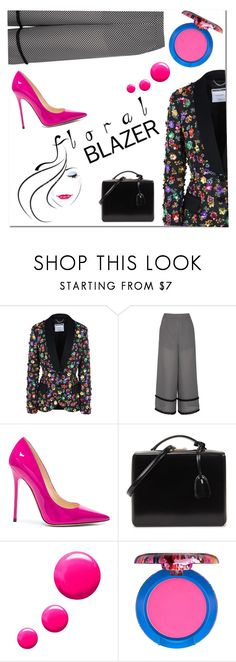 """""""Floral Blazer"""" by fancy-chic ❤ liked on Polyvore featuring Moschino, Finders Keepers, Jimmy Choo, Mark Cross, Topshop and MAC Cosmetics"""