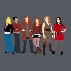 The Companions - Rose Tyler, Martha Jones, Donna Morgan, Amy Pond, River Song, and Clara Oswald.