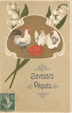 Chickens red egg flowers  Very nice French by sharonfostervintage, $4.50
