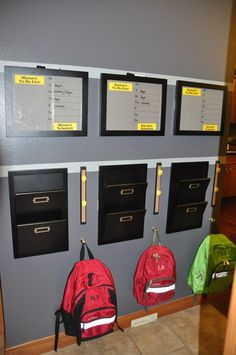 Kids school bag storage homework station ideas for 2019 Papier Kind, School Bag Storage, Family Command Center, Command Centers, Organised Housewife, Ideas Para Organizar, Great Schools, Cool Ideas, Storage Organization