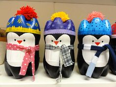 Tutorial -- Penguins made of plastic bottles -- cute for wrapping gifts.