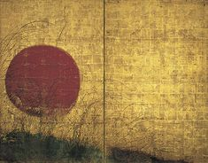 Musashino at Sunset. Edo period (1615–1868). 17th century. Single two-panel screen; ink, color, and gold on paper. Peggy and Richard M. Danziger Collection