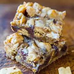 TRIED THIS: Soft and Gooey Loaded Smores Bars - Really goodl VERY gooey in the middle. Almost seems undone so I cook 10 minutes longer to make sure it's actually done. Husband gobbled these up. Easier than making real smores!
