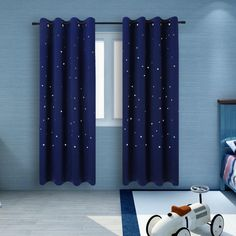 2 Panels Twinkle Star Kids Room Curtains with 2 Tiebacks BUZIO Thermal Insulated Blackout Curtains with Punched Out Stars Drapes for Space Themed Nursery and Bedroom x 63 Inches Royal Blue) Kids Room Curtains, Nursery Curtains, Cool Curtains, Modern Curtains, Colorful Curtains, Space Themed Nursery, Baby Nursery Decor, Nursery Themes, Curtain Patterns