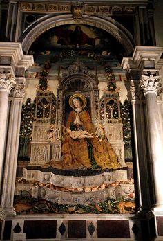Venedig, Chiesa di San Francesco della Vigna, Cappella Morosini, Thronende Maria mit dem Kind von Antonio da Negroponte (Madonna and Child Enthroned)   da HEN-Magonza