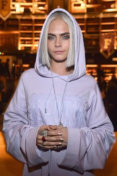 Cara Delevingne Dyed her Hair Platinum Blonde: Platinum locks are popping up all over the place, from Katy Perry to Olivia Wilde, and now, Cara Delevingne just joined lighter-haired crew. | coveteur.com