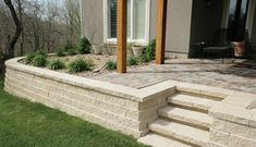 A stunning wall and step combo using the Regal Stone units! Landscape Walls, Landscape Design, Keystone Retaining Wall, Outdoor Spaces, Outdoor Decor, Plaster Walls, Modern Patio, Block Wall, Home Improvement Projects