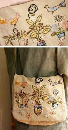 Craftsman Bag by Lambert embroidery inspiration Diy Embroidery, Cross Stitch Embroidery, Embroidery Patterns, Handkerchief Embroidery, Textiles, Lesage, Craft Bags, Fabric Bags, Handmade Bags