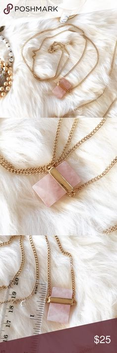 """- PINK STONE NECKLACE - Rectangle pink stone necklace with gold detail.  Gorgeous necklace easy to wear with anything! Wear with jeans and a cozy sweater for a casual look or wear with a button down shirt and heels for work! Stone varies slightly for each piece. Adjustable chain length:  29"""" - 31"""" Perfect Stocking Stuffer! Pair with other jewelry accessories in my closet for 20% off!  No trades / selling off of Posh.  ✨Offers always welcome!✨ Claire Louise Boutique Jewelry Necklaces"""