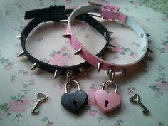 Heart pad lock choker/ heart collar/ kitten collar/ locket necklace