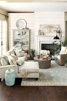 Oldfarmhouse Cape Cod Farmhouse Via The Love Striped Couch In This Room Jennifer Decorates Designer Living Decorating Ideas