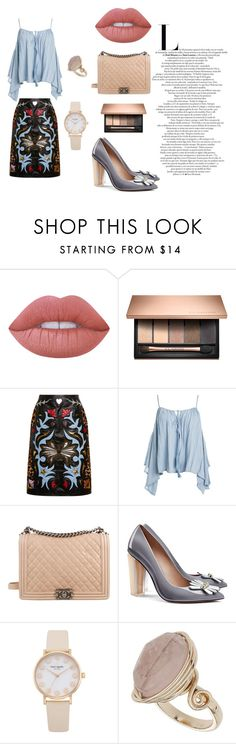 """datenight"" by evelinqa on Polyvore featuring moda, Lime Crime, Mary Katrantzou, Sans Souci, Chanel, Tory Burch i Topshop"