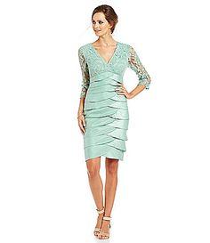 Adrianna Papell Shimmer Shutter Tuck Lace Dress #Dillards