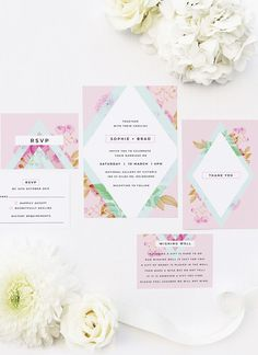 These Modern Pastel Pink Blue Green Geometric Wedding Invitations feature a striking contemporary design with pale pastel colours and florals. Pastel Wedding Invitations, Floral Invitation, Floral Wedding Invitations, Spring Wedding Inspiration, Wedding Ideas, Botanical Wedding Theme, Perfect Wedding, Dream Wedding, Mexican Themed Weddings