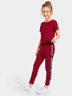 Girls Lettering Tape Top & Drawstring Waist Pants Set - - Source by Teenage Girl Outfits, Girls Fashion Clothes, Dresses Kids Girl, Cute Girl Outfits, Kids Outfits Girls, Teen Fashion Outfits, Cute Outfits For Kids, Cute Summer Outfits, Cute Casual Outfits